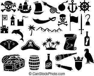 iconos, conjunto, piratas