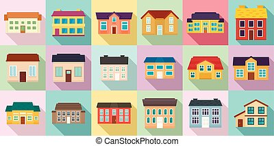 iconos, conjunto, plano, estilo, cabaña
