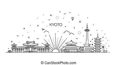 iconos, conjunto, set., kyoto, vector, vacaciones