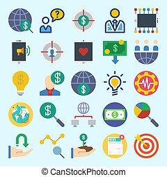 iconos, conjunto, sobre, marketing., con, mundial, establecimiento de una red, dinero, crecimiento, búsqueda, y, vendedor