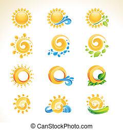 iconos, conjunto, sol