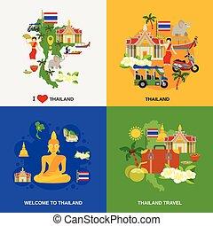 iconos, conjunto, tailandia, turismo