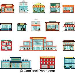 iconos, conjunto, tienda