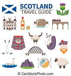 iconos, conjunto, viaje, escocia