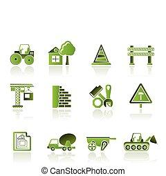 iconos, construcción edificio
