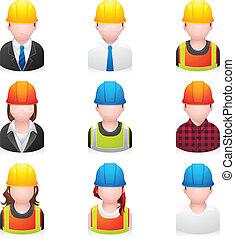 iconos, construcción, gente, -