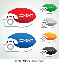 iconos, -, contacto, teléfono, vector, pegatinas