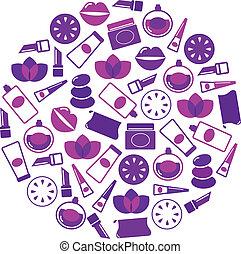 iconos, cosméticos, aislado, -, círculo, púrpura, blanco