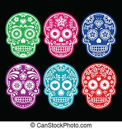 iconos, cráneo, azúcar, mexicano