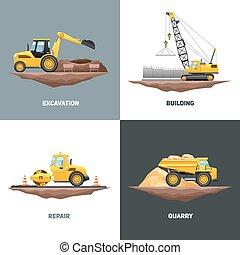 iconos, cuadrado, maquinaria construcción, 4, plano