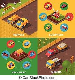iconos, cuadrado, maquinaria, isométrico, 4, agrícola