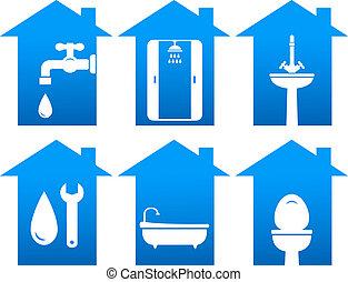 iconos, cuarto de baño, conjunto, instalación de cañerías