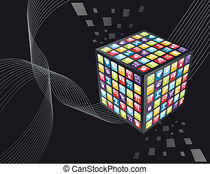 iconos, cubo, apps, iphone, global