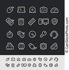 iconos de computadora, //, negro, línea, serie