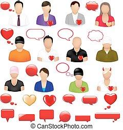iconos, de, gente