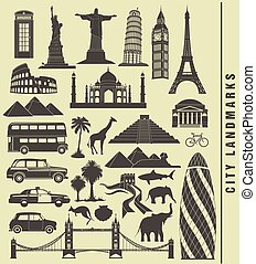 iconos, de, la ciudad, señal, mundo