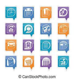 iconos de la oficina, negocio internet