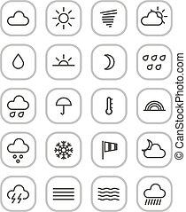 iconos de la tela, aislado, colección, pronóstico, tiempo, blanco