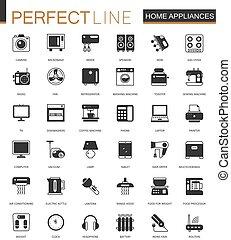 iconos de la tela, casa, clásico, negro, aparatos, hogar, set.