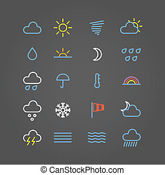 iconos de la tela, color, colección, pronóstico, tiempo