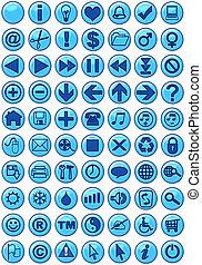 iconos de la tela, en, azul