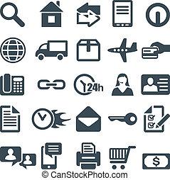 iconos de la tela, móvil, sitio, app., o