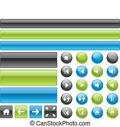 iconos de la tela, música, controles, y