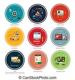 iconos de la tela, medios, social, seo, diseño