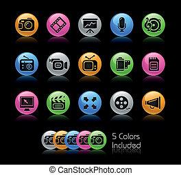 iconos de la tela, multimedia, /, gelcolor