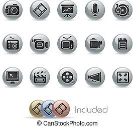 iconos de la tela, multimedia, /, metálico