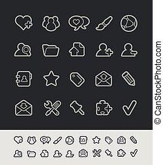 iconos de la tela, //, negro, línea, serie