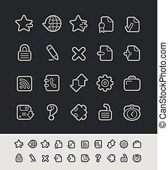 //, iconos de la tela, serie, negro, línea