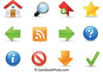 iconos de la tela, serie, sitio, /, gel