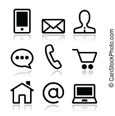 iconos de la tela, vector, conjunto, contacto