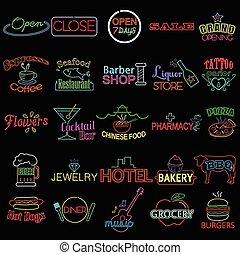 iconos, de, neón, tienda, señales
