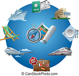 iconos de viajar