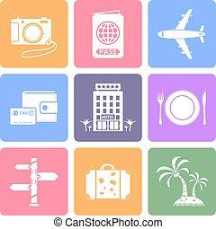 iconos de viajar, conjunto, plano, diseño