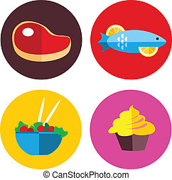 iconos del alimento, con, carne, y, alimento vegetariano