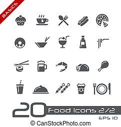 iconos del alimento, -, conjunto, 2, de, 2, //, fundamentos