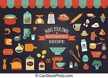 iconos del alimento, y, ilustraciones, -, vector, colección