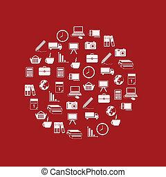 iconos del negocio, en, círculo