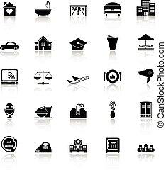 iconos del negocio, reflejar, plano de fondo, hospitalidad, ...