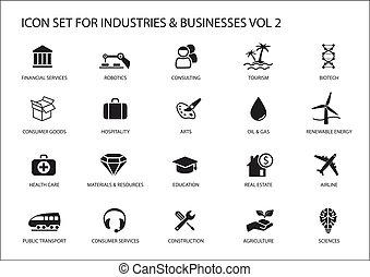 iconos del negocio, y, símbolos, de, vario, industrias, /,...