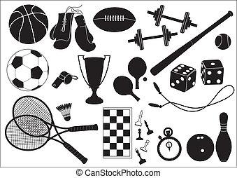 iconos, deportes, equipments, negro, blanco, .vector