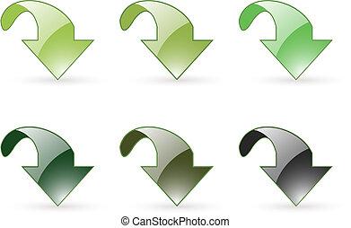 iconos, descargue, verde, flecha, botón
