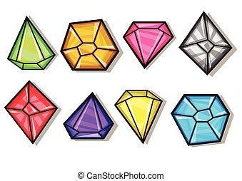 iconos, diamantes, conjunto, gemas, vector, caricatura