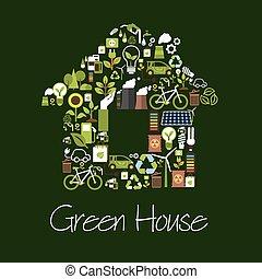 iconos,  eco, casa, símbolo, ecológico, verde