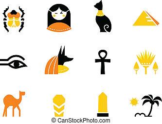iconos, egipto, camello, -, colección, anubis, obelisco,...