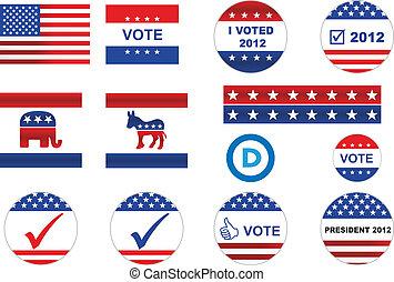 iconos, elección, insignias, nosotros