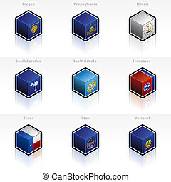 iconos, elementos, banderas, estados, 58e, unido, -, diseño determinado